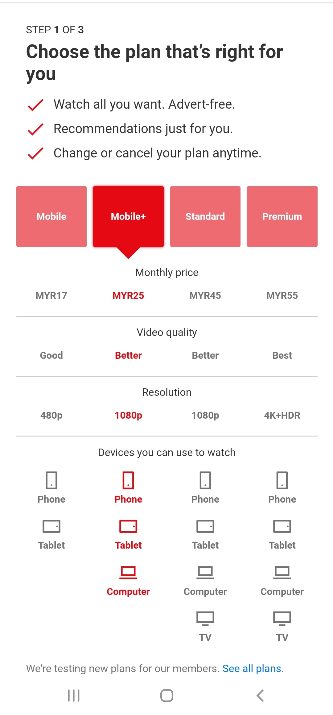 Netflix Mobile+ Plan in Malaysia from Mobile browser